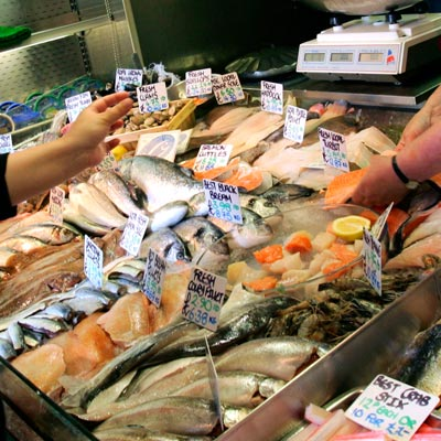 Locally caught seafood on sale © Jiri Rezac / WWF-UK