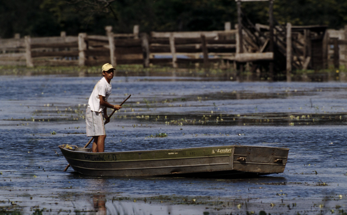 Boy in flat boat , People living in a wetland Mato Grosso , Pantanal, Brazil