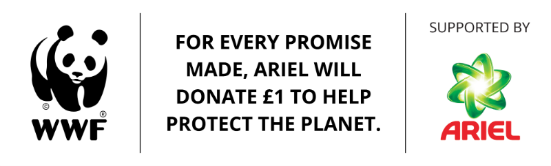 For every promise made, Ariel will donate £1 to help protect the planet