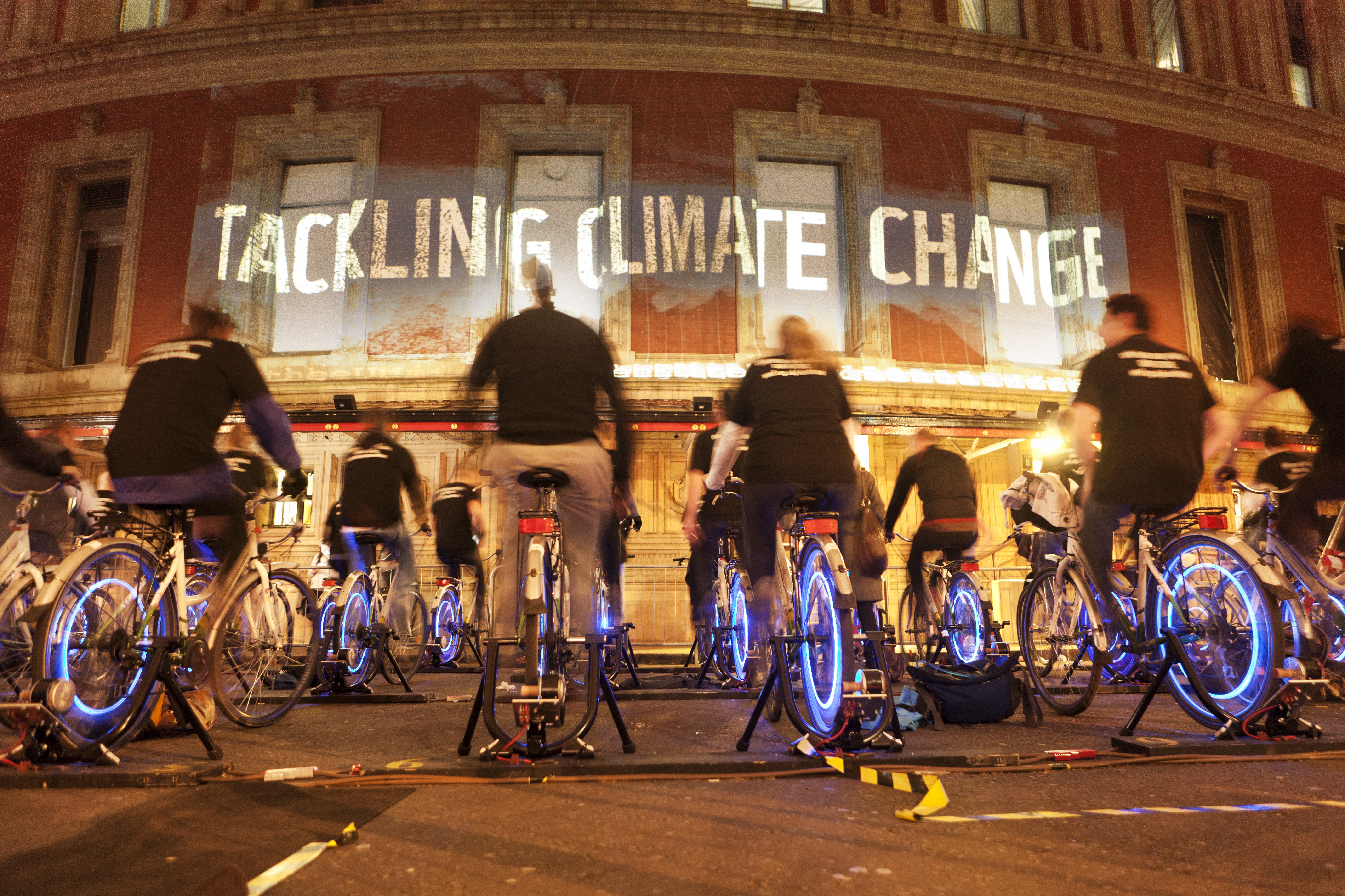 Cyclists power an Earth Hour message