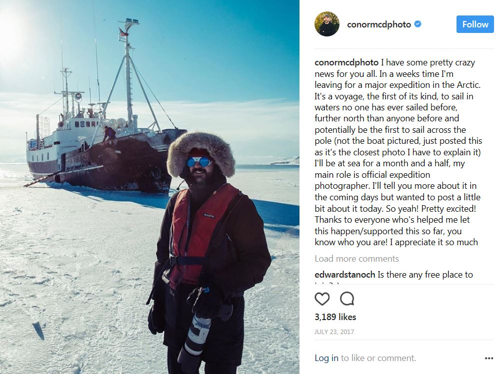 Conor McDonnell Arctic instagram post