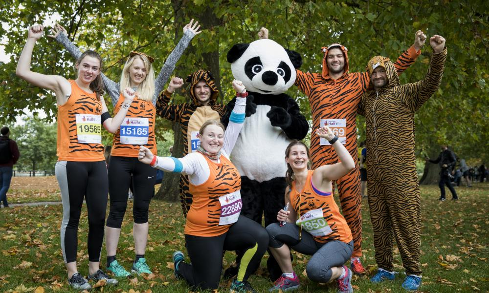 Royal Parks Half Marathon finishers with Panda