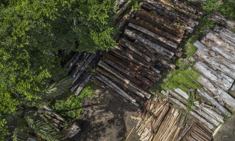 Timber seized over five years ago stored at the Environmental Police Battalion, Porto Velho, Rondônia.