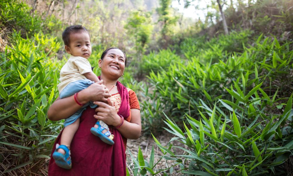 Portrait of Harigala Almathir and her son in the Abukhairani municipality ward n. 9, of Amdandabeshi, Nepal.