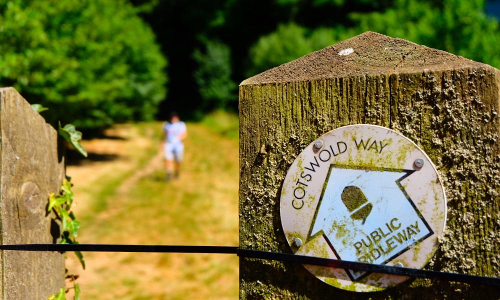Cotswold Way Challenge signpost on route
