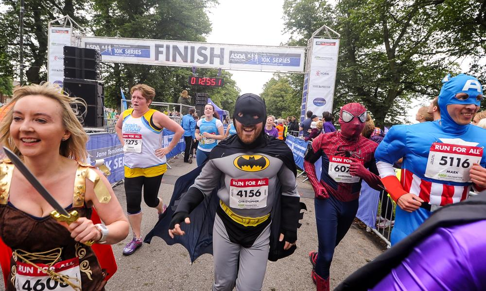 Runners in fancy dress taking on the York 10K challenge