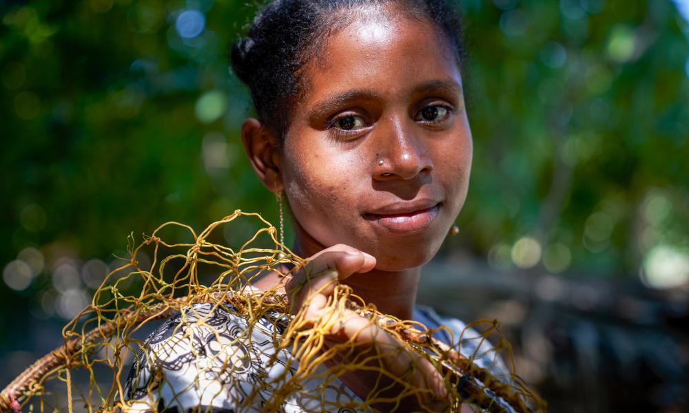 A fishing woman in a village set among mangroves in the western coastal region of Madagascar.