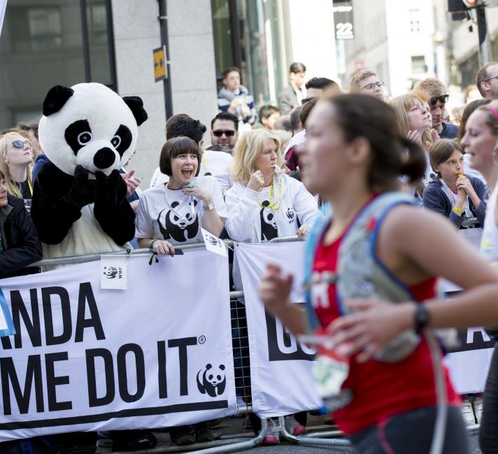 Team panda supporters at the London marathon