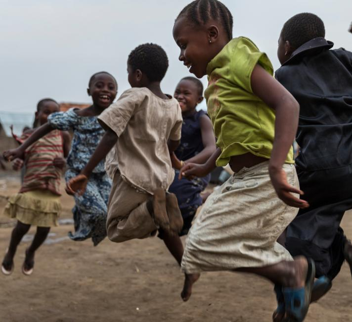 Children jumping and playing