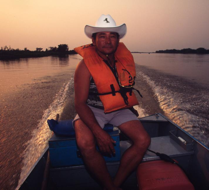 A local fishing guide in the early morning on the Pantanal