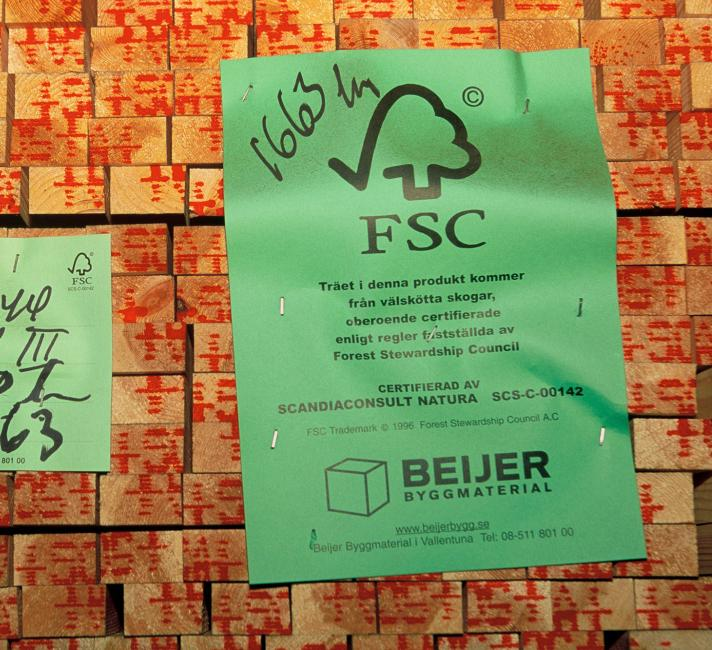 Stocks of FCS certified timber