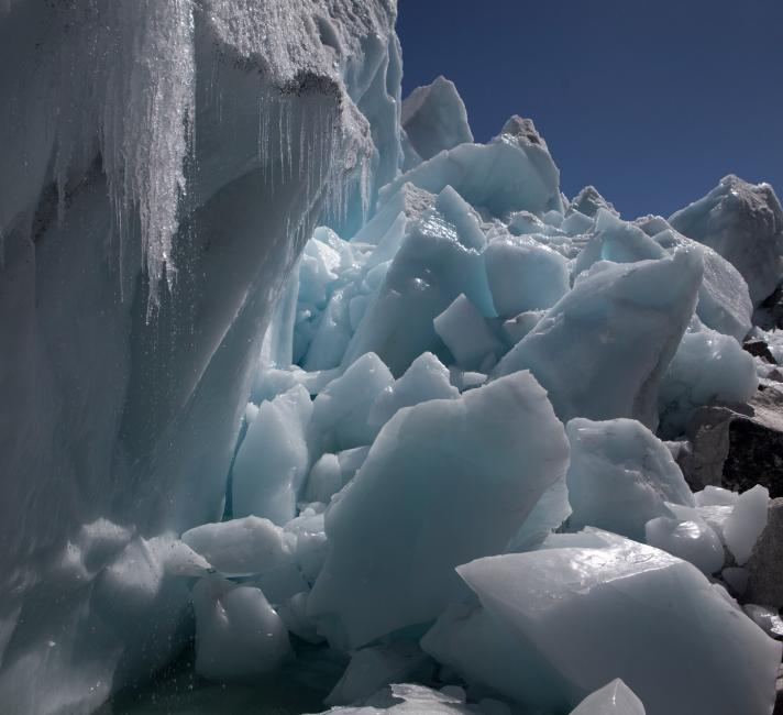 Water dripping from the melting ice on the Khumbu Glacier