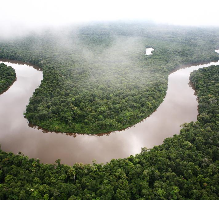 Aerial shot of a winding river, Amazon rainforest, Loreto region, Peru.