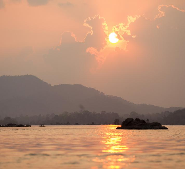 WWF's conservation work in the Greater Mekong, April 2014: sunset at the Preah Rumkel community-based ecotourism site on the border between Cambodia and Laos, Stung Treng, Cambodia.