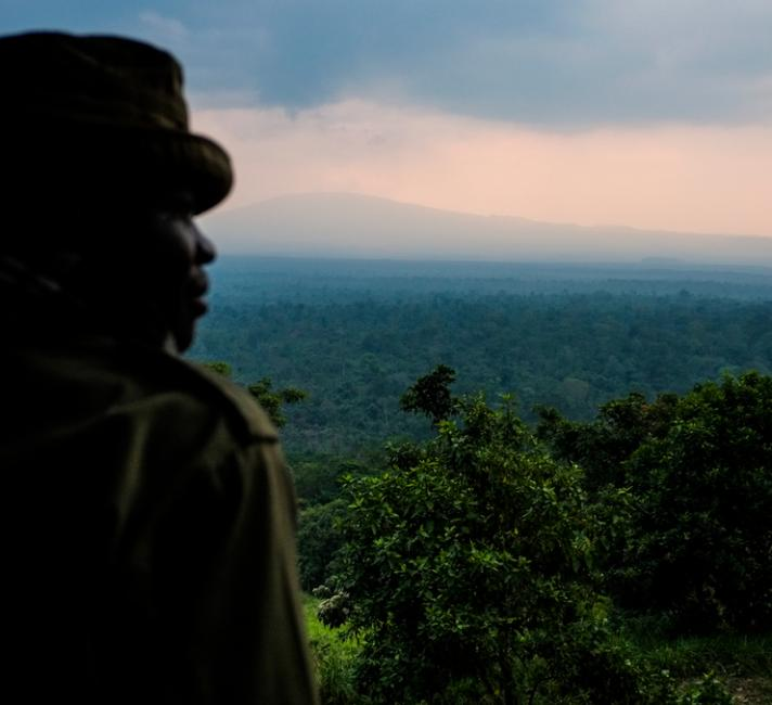 View from Rumangabo over the Volcano section of Virunga National Park, Democratic Republic of the Congo.