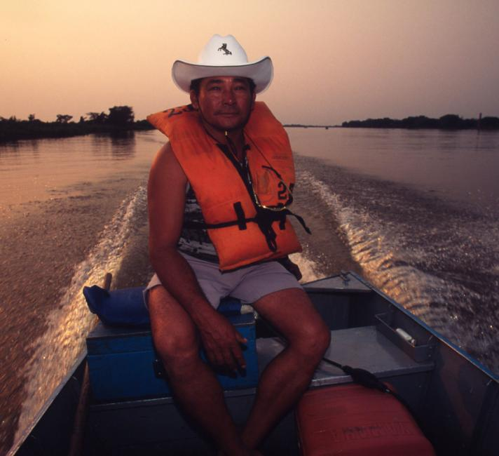 A local fishing guide in the early morning After cattle ranching, fishing tourism is the main source of local employment Paraguay River, Pantanal, Brazil