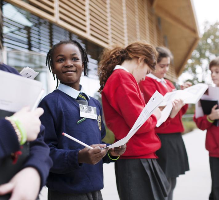 School children outside the LPC, WWF-UK's office in Woking, Surrey