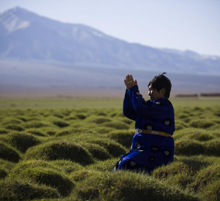 Praying to Jargalant Mountain in Mongolia