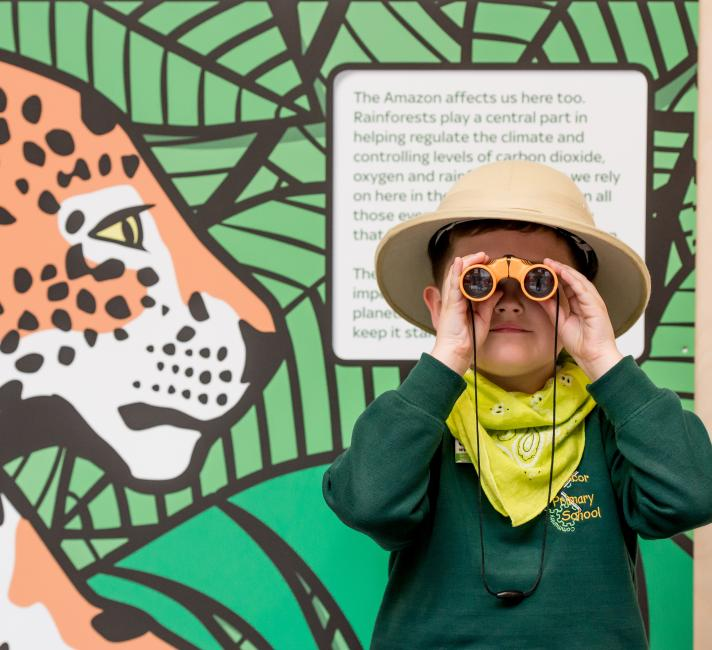 Pupil taking part in the Amazing Amazon workshop at the Living Planet Centre © Richard Stonehouse / WWF-UK