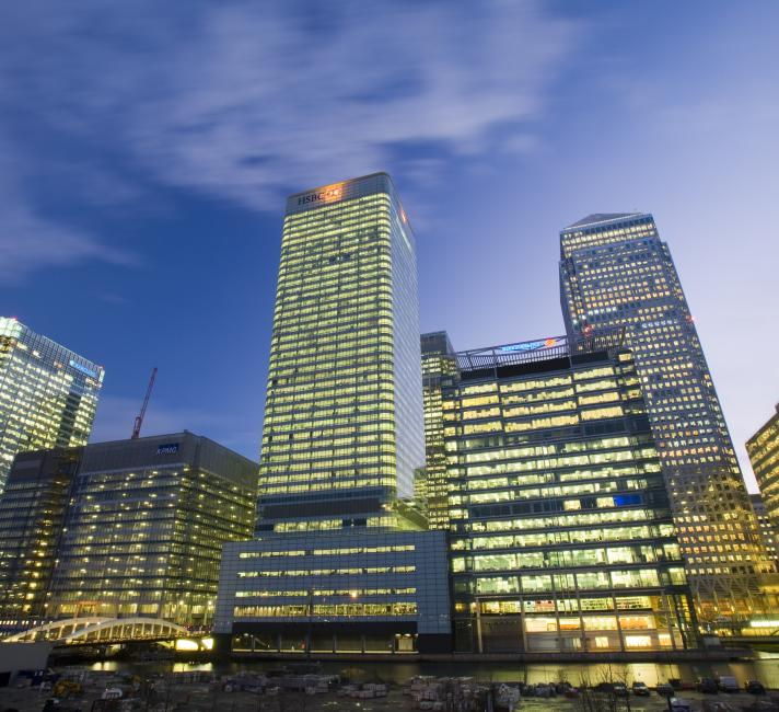 Banking, financial sector buildings, Canary Wharf, London