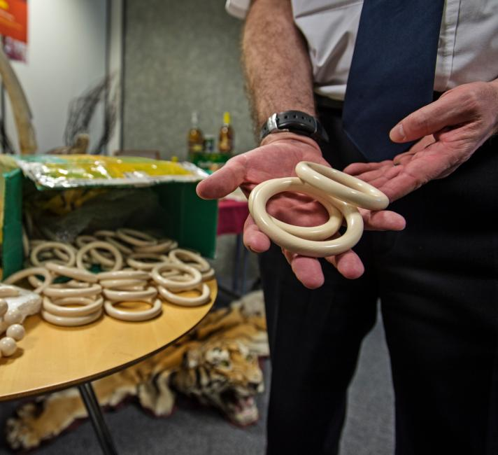 Elephant ivory bracelets seized by Border Force at Heathrow Airport
