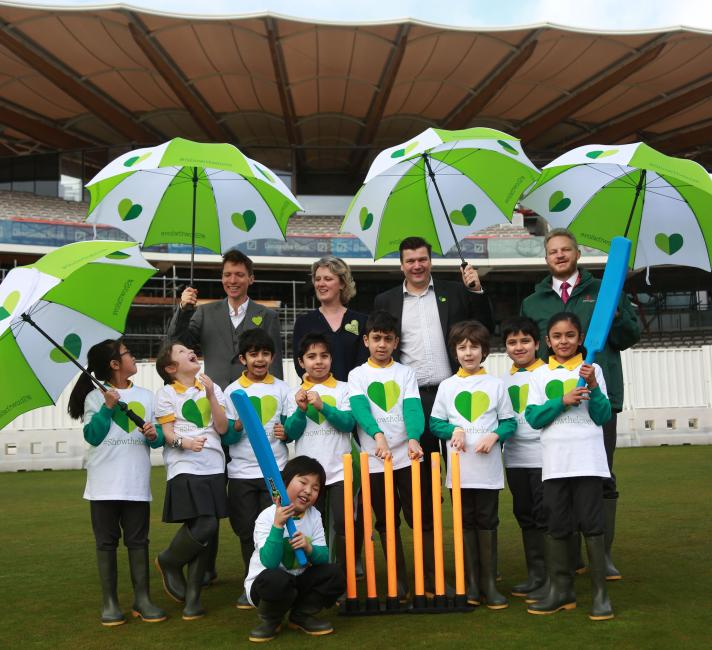School children go into bat against climate change at Lords Credit: Kristian Buus/The Climate Coalition