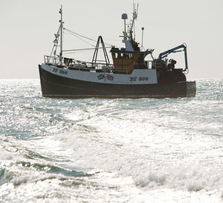 A fishing trawler in the Irish Sea off Cumbria, UK