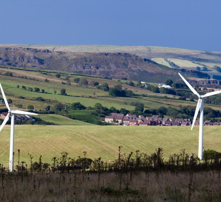 Wind turbines, South Wales