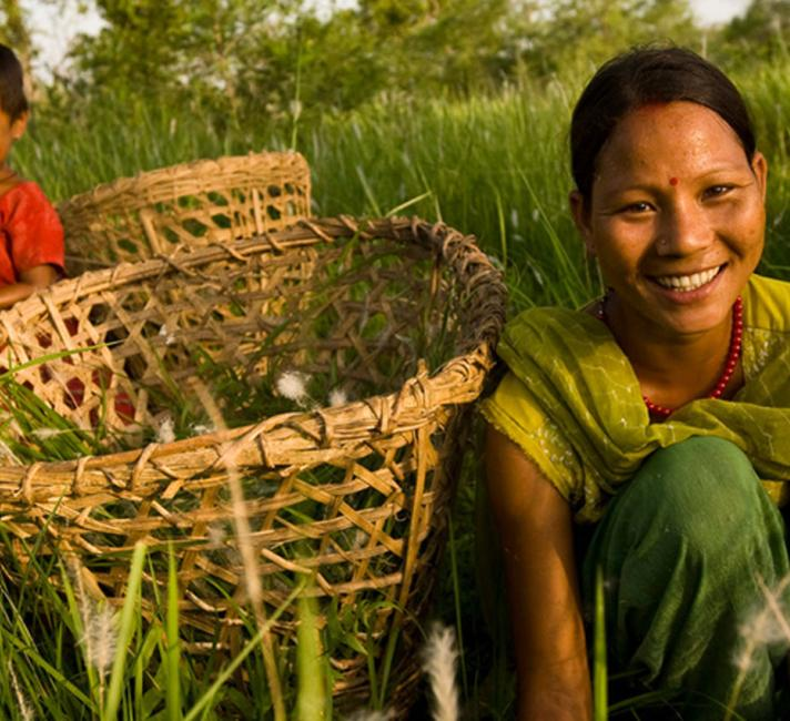 A mother and son harvesting in Nepal