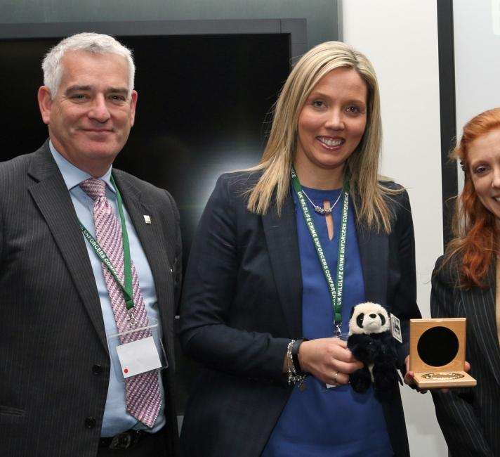 Wildlife Crime Liaison for the PSNI, Emma Meredith, with Chief Constable Dave Jones and Niki Rust of the WWF