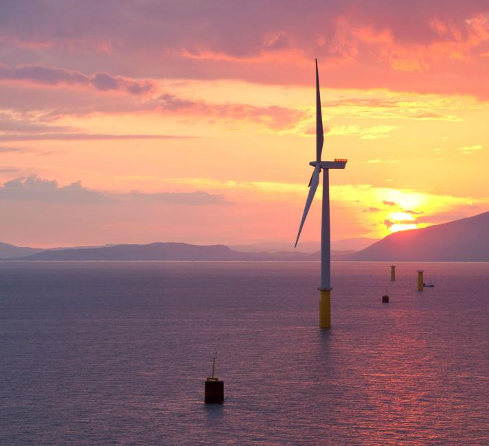 Coastal wind farm at sunset reversed