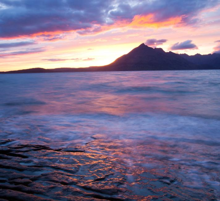 The Cuillin Ridge on the Isle of Skye, Scotland, UK, from Elgol, at sunset.