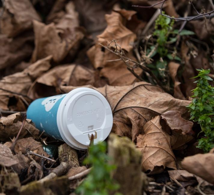 Discarded disposable coffee cups litter the streets in London, Elizabeth Dalziel