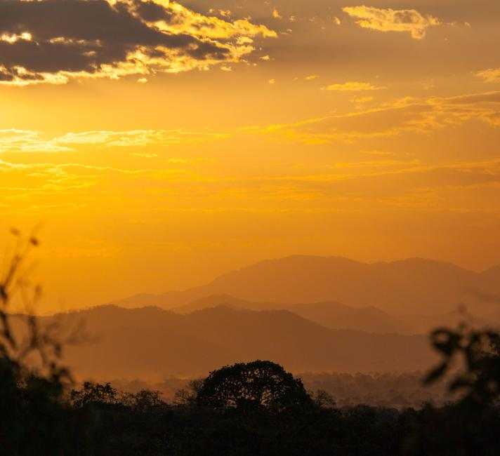 Sunset over Selous Game Reserve. Selous, Tanzania.