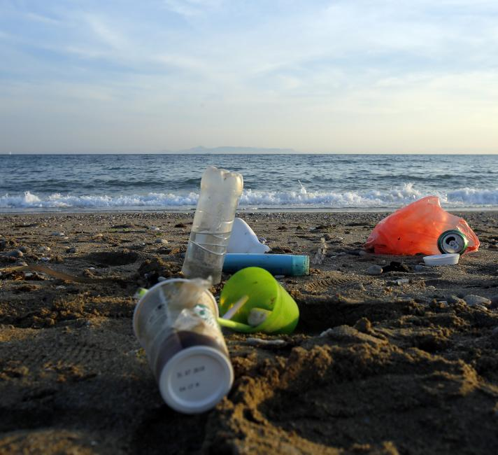 Plastic on a beach in the Mediterranean