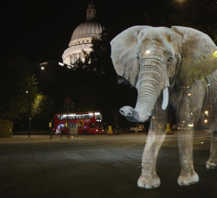 Elephant hologram outside St Pauls