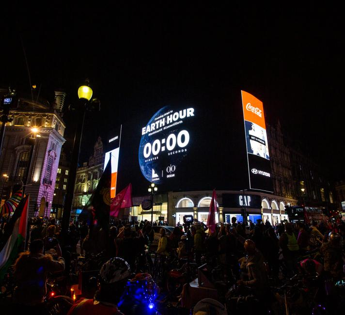Earth Hour 2019 switch off countdown at Picadilly Circus, London