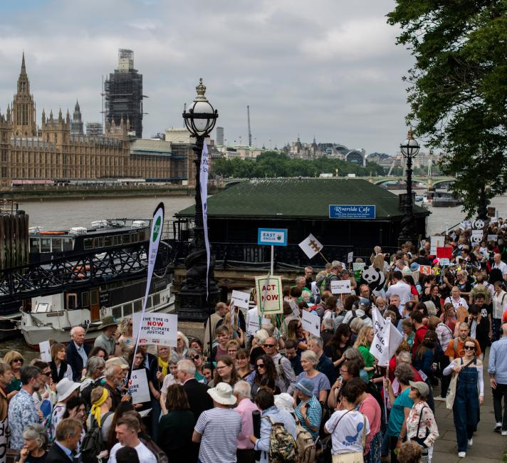 Lobbyists line the banks of the River Thames to speak with their local MP's on climate issues in Westminster, London on June 26, 2019.