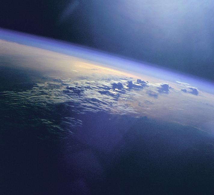 Clouds on planet Earth as seen from the Space Shuttle Discovery.
