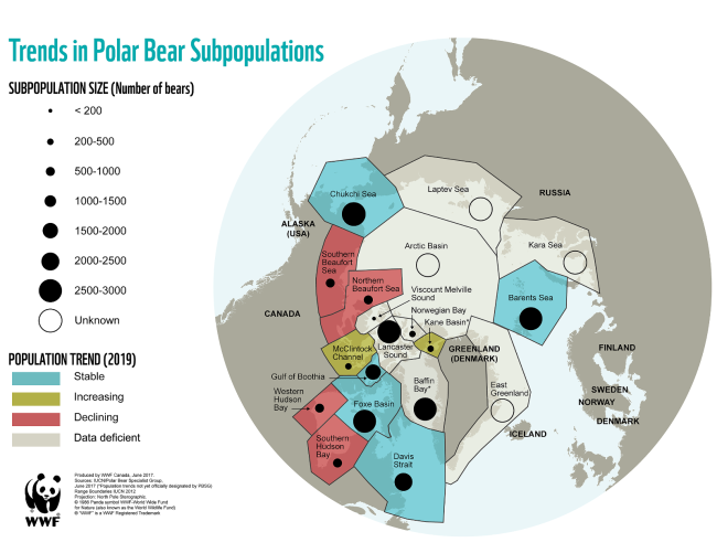 Map of polar bear subpopulations