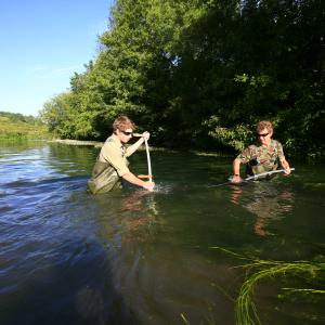 Men with nets, River Kennet. Wiltshire, UK © Jiri Rezac / WWF-UK