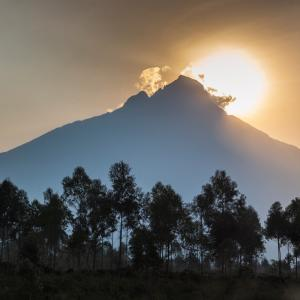 Sunrise behind Mount Mikeno, Virunga National Park, Democratic Republic of Congo (formerly Zaire), Africa